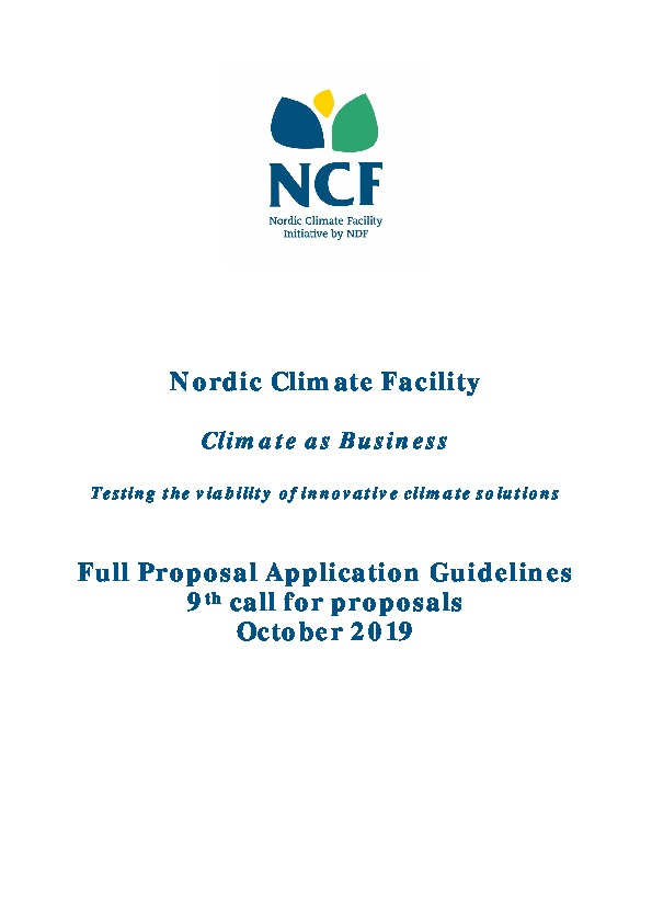 NCF 9 Full Proposal Application Guidelines