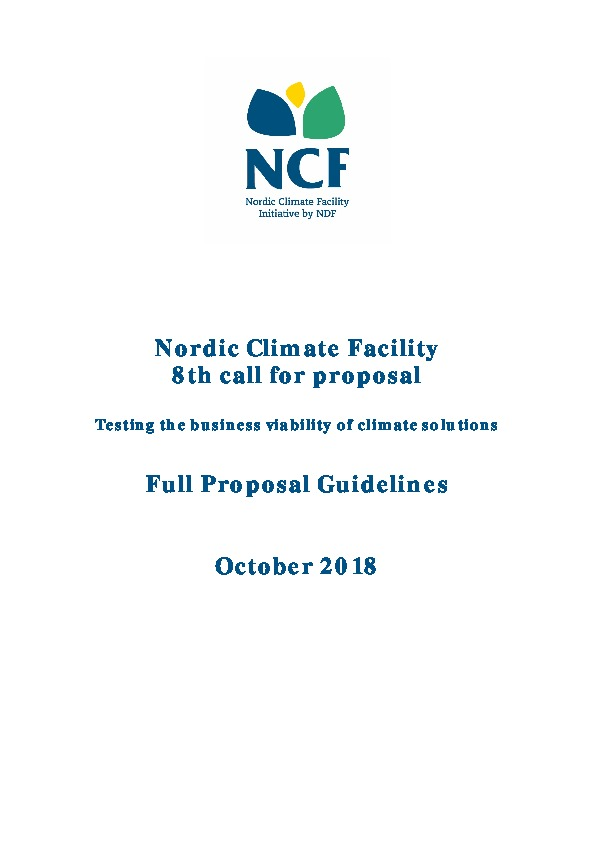 NCF 8 Full Proposal Application Guidelines